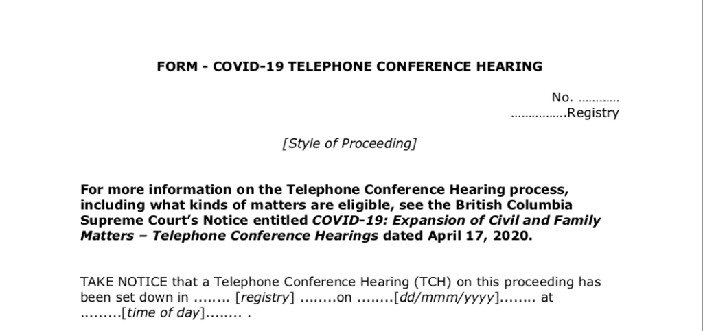 COVID-19 Telephone Conference Hearings